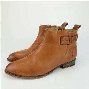 FRYE Bella Bootie Leather Short Brown Zip Boots